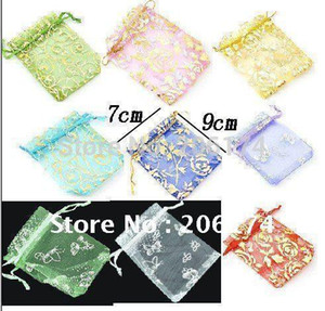 Random Mix Colors Packing Drawable Organza Bags 7x9cm Wedding Gift Bags & Pouches 1000pcs lot Packing Bags