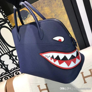 2019 nouveau Grand fourre-tout haut cuir véritable classique Togo Bolide 100% fait main requin patchwork femmes sacs à main Crossbody épaule