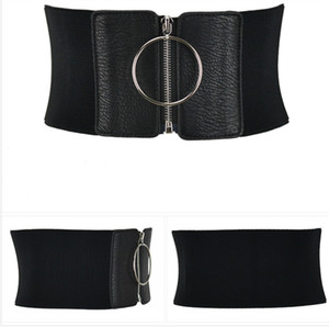 Women Ultra Wide Belt For Dresses Ladies Elastic Belts Female Big Metal Circle Ring Black Cummerbund Waist Strap 124