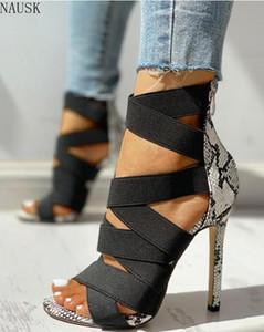 Sandalias Mujer 2020 여성의 여성 패션 붕대 패치 워크 혼합 색상 뱀 하이힐 샌들 펌프 캐주얼 신발 size37 ~ 43