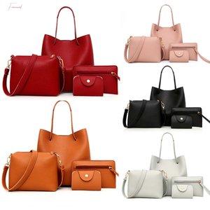 4Pcs Womens Fashion Leather Four Piece Shoulder Handbag Crossbody Wallet Messenger Bag Card Package