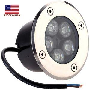5W LED al aire libre de tierra Camino de jardín reflectores subterráneamente enterrada Yard lámparas spot paisaje luz IP67 impermeable 85-265V AC
