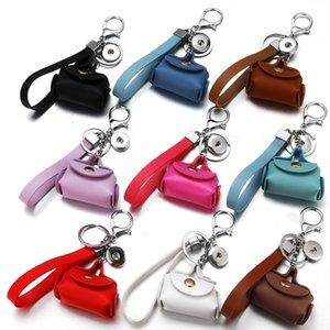 Deri Anahtarlık Hediye Mini Çanta Anahtar Keyrings Chaveiros ile Yeni Tasarım 18mm snap düğmesi anahtarlık