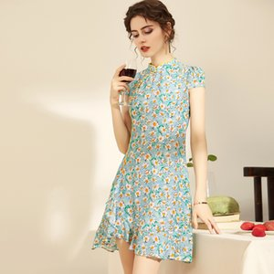 100% Natural Silk Women's Runway Dresses Stand Collar Short Sleeves Printed Qipao Chinese Style Short Dresses