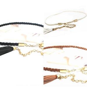 Twist metal waist chain woven thin belt decorative large size Dress dress waist rope chain small Belt black tassel