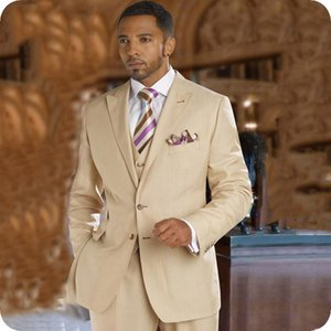 Beige Men Suits For Wedding Suits Custom Made Best Man Blazer Casual Slim Fit Bridegroom Groom Wear Prom Costume Tuxedos Jacket+Pants+Vest