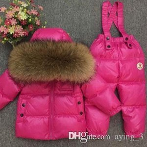 -30degrees traje de invierno la ropa del bebé de la niña de Rusia esquí cabritos de los sistemas deporte al aire libre del niño en el suelo abrigos Chaquetas + pantalones de piel 90-140 000