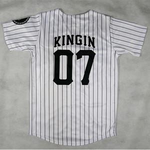 Mens 2019 Vintage Beyzbol Formalar SON # 07 Kingin BEZBOL JERSEY - BEYAZ Hip Hop Beyzbol Jersey
