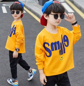 Children's wear boys' long sleeve sweater children's T-shirt autumn 2020 new casual smiling face letter top issued by Zhongda