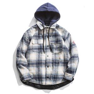 Abbigliamento 2019 Scuola di vento di lana Lattice Cotone maschio Anche Cappello cotone imbottito Serve Maschio allentato Coat