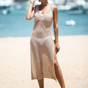 Traje cubierta escarpada del bikini Hasta suéter traje de baño sin mangas de malla ahueca hacia fuera el cuello en V de baño femenino 2020 de las mujeres del vestido de la playa