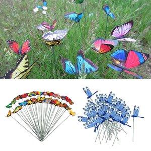 100PCS 살아있는 다채로운 화분 나비 잠자리 스테이크 파티오 잔디 예술 장식 화분 장식