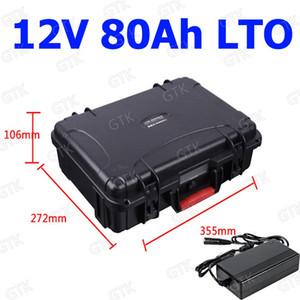 GTK wasserdichte Lithium-Titanat-Batterie 12V 80Ah LTO-Akku BMS für die Stromversorgung Solaranlage Golfwagen EV + 10A Ladegerät