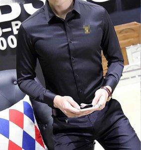 Shirt de manga comprida Casual Prints lapela luxuoso magro camisas dos homens quente Livre Masculino Logística Marca europeus e americanos moda tendência camisa