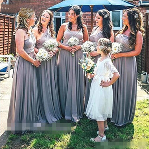 Gray Convertible Bridesmaid Dresses Ruched Straps One Shoulder Ruched Pleats Custom Made Plus Size Maid of Honor Gown Country Wedding Wear