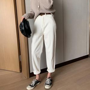 coton Jeans blanc pour femme taille haute Harem Mom Jeans printemps 2020 nouveaux jeans pantalons denim