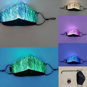 Color Lights LED Light up Face Mask USB Rechargeable Glowing Dust Mask for party bar Dancing Rave Masquerade Costumes face mask LJJK2154