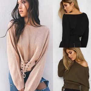 Las nuevas mujeres de manga larga con correa suéter del cordón de la cintura que OL Oficina sueltos ropa otoño invierno suéteres de moda hembras
