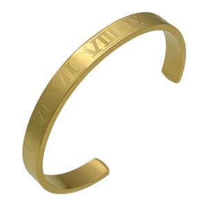 الأرقام الرومانية صفعة أساور واسعة ونسخة رقيقة من النجم نفسه الزوجين افتتاح سوار أزياء سوار التيتانيوم الصلب المجوهرات