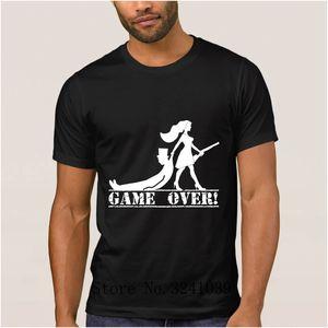 Anlarach Creative Breathable game over bride and groom t shirt cartoon summer Fitness t-shirt men large Family men tshirt
