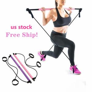 НАС!! Йога тяги Портативной Главной Йога Bands Gym Body Брюшного сопротивление для пилатеса упражнения Стик Тонизирующего Бара Фитнес Rope Puller FY6148