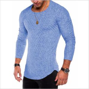 Мужская мода повседневная тонкая рубашка сплошной цвет изогнутая футболка с длинными рукавами строчка дуги подол дна рубашки