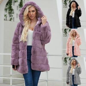 Trendy Nuova pelliccia del gatto vestiti di inverno delle signore delle donne Caldo Faux Fur Coat Jacket Solid Capispalla con cappuccio abrigo peluche mujer 2019