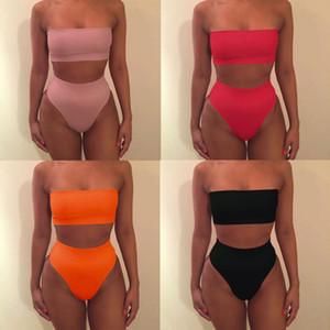 ABD STOK Seksi Kadınlar Casual straplez Katı Renk Wrap Göğüs Yüksek Bel Bottoms İki Parça Suits Mayo Seti Yıkanma Plaj Mayo Tops