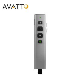 AVATTO G600 aleación de aluminio verde Wireless Laser Pointer Presentador con Spotlight, presentación de PowerPoint a distancia para el proyector