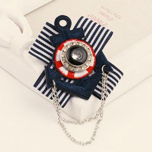 Femmes filles marine rayure cravate broche strass ancre style rétro insigne costume épingle de revers avec chaîne