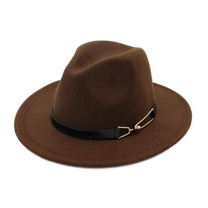 Fashion-European US men women wool felt fedora hats with Belt BuckleWide Brim Jazz hat Autumn Winter panama Cap Trilby Chapeau