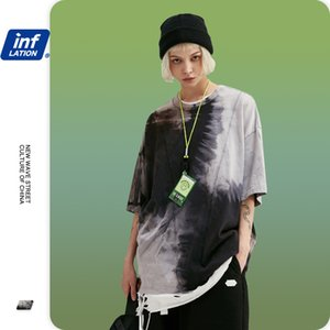INFLATION Men Tie Dye Summmer Tshirt Color Block Mens T shirts Fashion 2020 Trending Oversized Men Tee Shirt Homme 1117S20