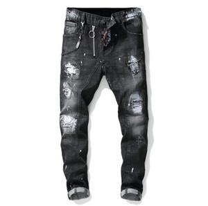 Homme unique peint peints déchirures stretch noire jeans de mode designer slim ajustement pantales de denim de motocycle lavabo pantalon hip hop 1012
