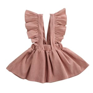 Free shipping Newborn Kids Baby Girls Clothes strap solid Ruffle Button cotton Toddler lovely casual Mini skirts one pieces