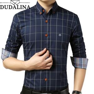DUDALINA Male Plaid Without Pocket Clothes Slim Fit Long Sleeve Casual Men Shirt Social Plus Size M-5XL Y200623