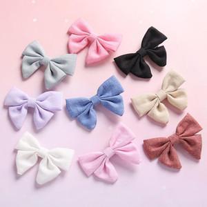 Parti Performans Kızlar Ins Pretty Bow Prenses Saç Klipler 9 Renkler Katı Pamuk Keten Tokalar Bebekler Saç Aksesuarları Çocuk