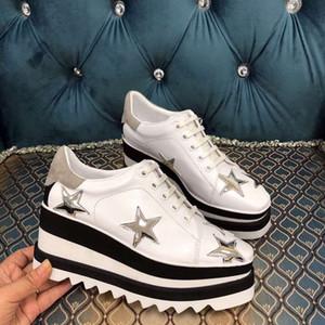 الأحذية الفعلية! جلد طبيعي flatform الأحذية ستيلا بريت أحذية Elyse نحى منصة عادية ديربيز إسفين أحذية مسطحة 2019 جديد مع صندوق