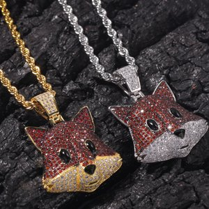 Hiphop Fox Head Necklace For Men Brand Designer Gold Jewelry Ice Out Cubic Zirconia Mens Hip Hop Pendant