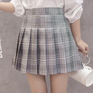 여성 주름 치마 하라주쿠 프레피 핫 스타일 격자 무늬 스커트 미니 귀여운 일본어 학교 유니폼 여성 Jupe 가와이이 스커트 SAIA Faldas