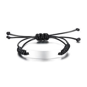 Einstellbare schwarz geflochtene Name Armband Armreif für Männer Frauen Name Schmuck personalisierte Laser Armband BR-472