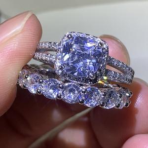 Infinity Brand New Luxury Schmuck 925 Sterling Silber Paar Ringe Kissenform Weiß Diamant Edelsteine Frauen Hochzeit Braut Ring Set Geschenk