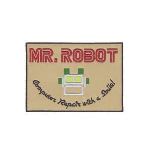 O Sr. Robô FSOCIETY PROGRAMA TELEVISIVO DE ALTA QUALIDADE PATCH IRON / reparo do computador SEW ON com um patch sorriso