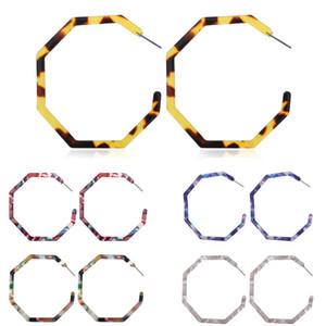 Orecchini acrilici della Boemia di modo del cerchio delle donne Leggero resina Orecchini geometrica Octagon Dichiarazione degli orecchini gioielli regalo