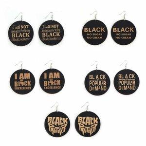 Großhandel Stilvolle Rundholz gedruckten Buchstaben Ohrringe Punkgroßbuchstaben baumeln Ohr Hooked hängender Ohrring-Damen Schmuck Geschenke