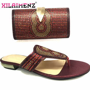 Leisure Style 2019 African Women Matching Shoes and Bag Set High Quality Slipper with Evening Bag to Match in Wine Color Y200702