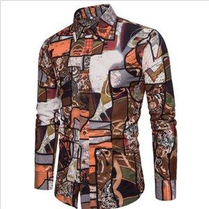 Bohemia Beach Shirts For Men Summer Style Long Sleeved Wedding Dress Shirt Man Casual Nice Shirts Men Plus Size 5XL Shirts A408