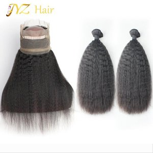 JYZ Brazilian virgin human hair 360 frontal closure with 2 bundles with frontal unprocessed hair Kinky straight natural color