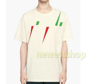 2020 Luxo Europa de alta qualidade mens carta cor imprimindo camisetas Skate de tamanho grande T-shirt do desenhador de moda camisetas Womens Casual Tee