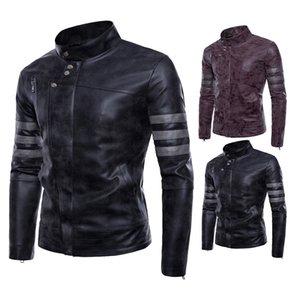 Spring And Autumn Fashion Stand Collar Coat Retro Locomotive Leather Coat Sportsman Slim Fit Leather Jacket Large Size Fashion