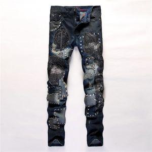 جديد رجالي فاسق المسامير مطرزة جينز مصمم جينز صالح سليم ذكر مطبوعة السائق نادي سروال جينز